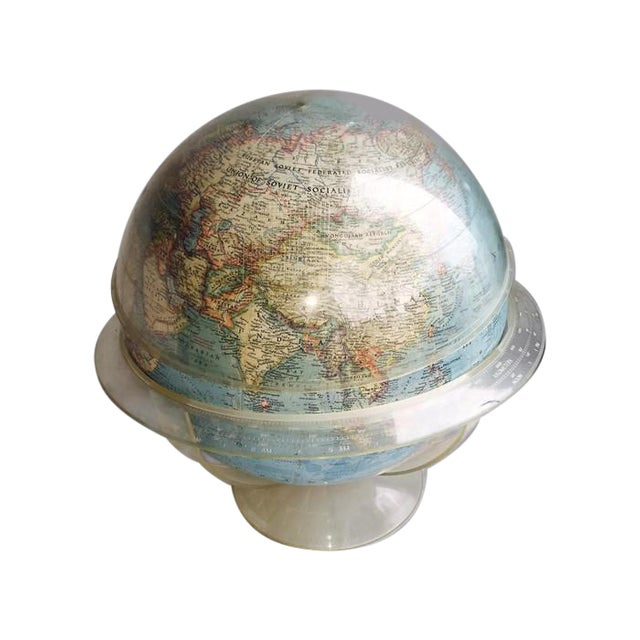 Vintage 1960s Tall Lucite Base World Globe - Image 1 of 7