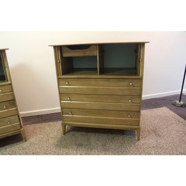 Heywood Wakefield Mid Century Tall Chests - Pair - Image 8 of 11