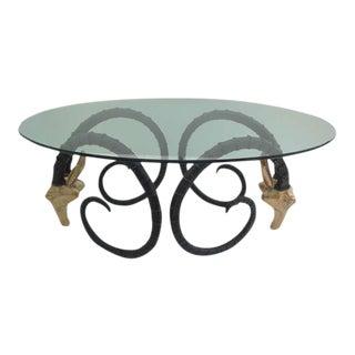 Impressive Vintage Brass Ibex Desk or Dining Table Style of Chervet