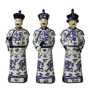Chinese Blue & White Qing Emperor Figures - Set of 3