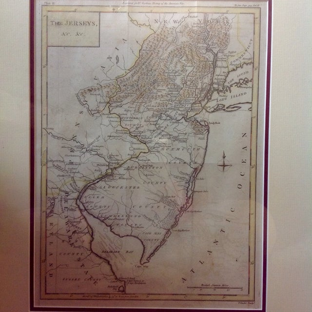 """Image of 1788 """"The Jerseys"""" Hand Colored Engraved Map"""