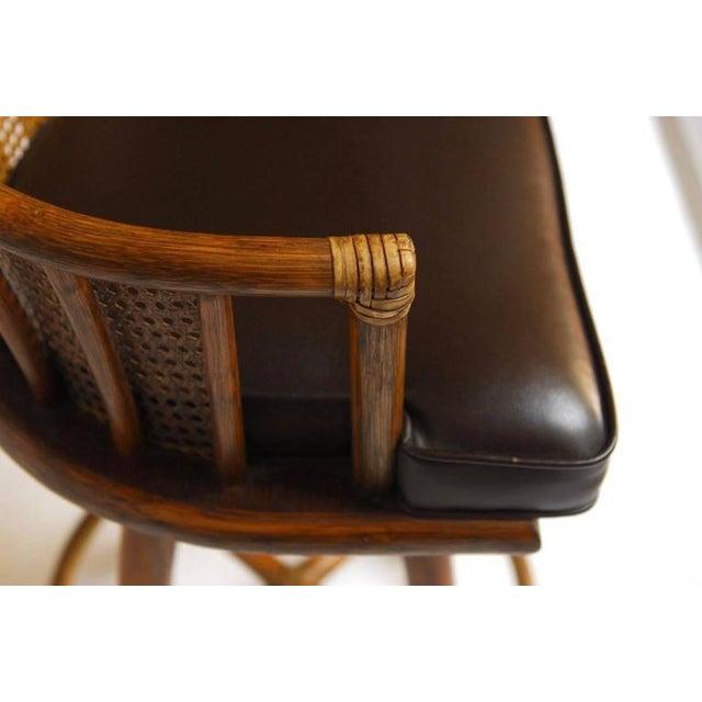 McGuire Bamboo & Cane Swivel Barstools - Set of 4 - Image 5 of 10