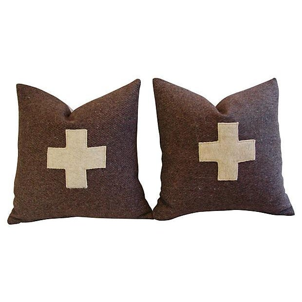 Swiss Wool Appliqué Cross Pillows - Pair - Image 6 of 6