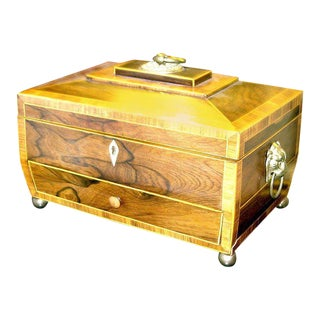 Regency Rosewood Tea Caddy With Drawer