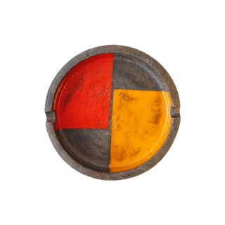 Bitossi Large Round Red & Orange Ashtray