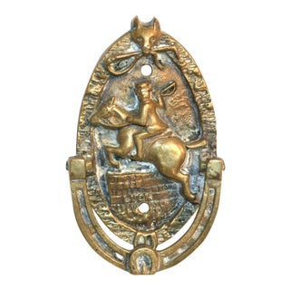 "Fox and Hunter ""Good Luck"" Brass Door Knocker"