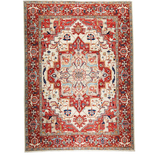 Contemporary Traditional Red Hand-Knotted Rug 9' X 12' - Image 1 of 3