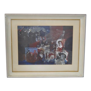 "Thomas Sparacino ""Family"" Mixed Media Painting c.1970s"