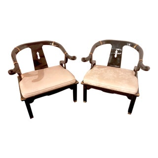 James Mont Century Ming Horseshoe Chairs - A Pair