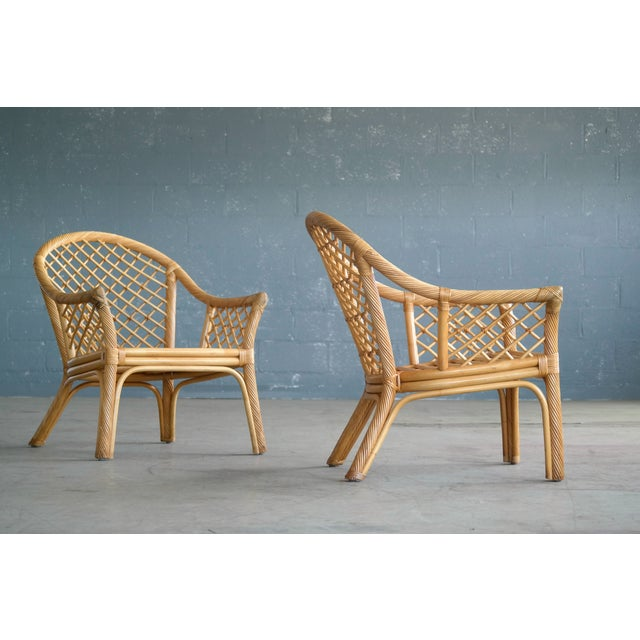 Mid Century Modern Danish Rattan Armchairs - a Pair - Image 2 of 11