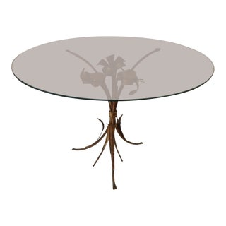 Gilded Metal and Glass Coffee or Side Table