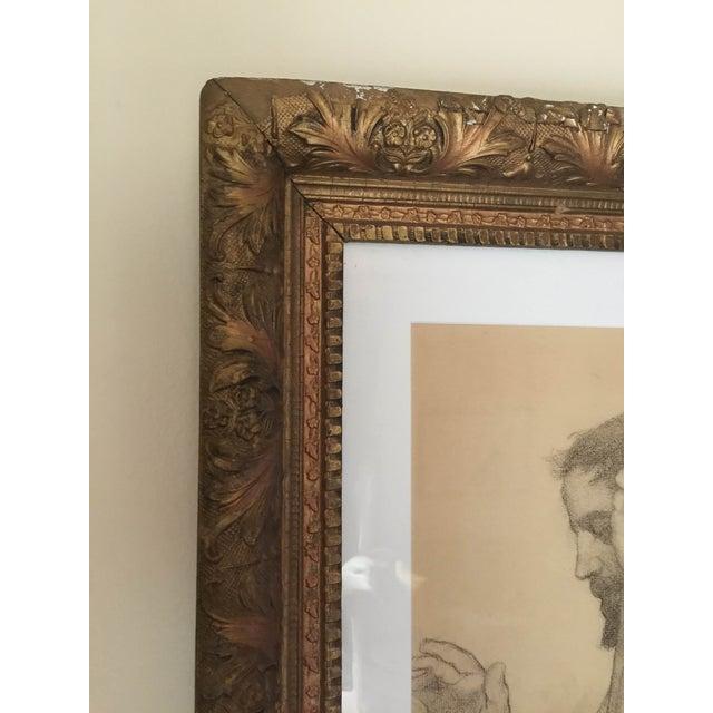 Rare Original Victorian Framed Figure Drawing - Image 4 of 7