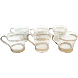 Gold Greek Key Espresso Coffee Glasses - Set of 6