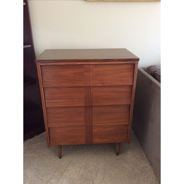 Mid-Century Modern Louvered Highboy Dresser - Image 2 of 10