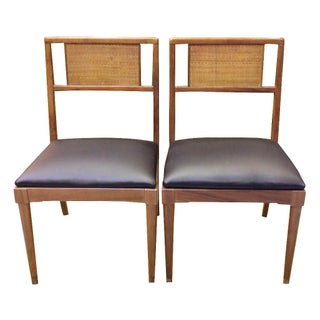 Mid-Century Rattan-Back Accent Chairs - A Pair