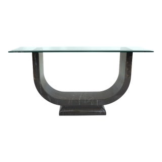U-Shaped Faux Marble Lacquer Console