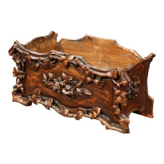 19th Century French Carved Walnut Black Forest Jardiniere with Marquetry