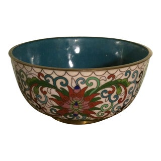 White Lotus Flower Cloisonné Bowl