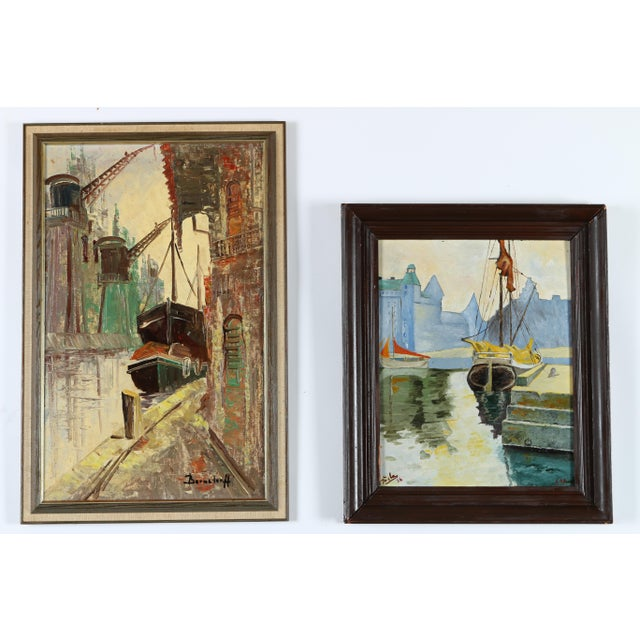 Image of Docked Ships Gallery Wall Art Paintings - a Pair