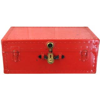 Candy Apple Red Metal Steamer Trunk