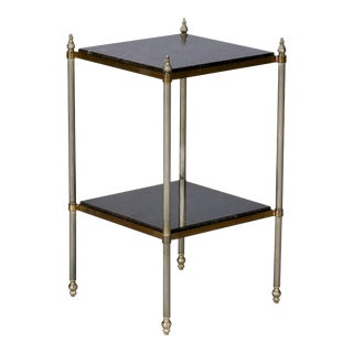 French Marble and Brass Two-Tier Side Table