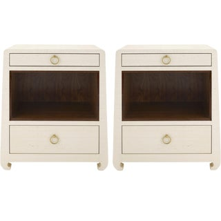 Bungalow 5 Ming 2-Drawer Lacquered Natural Grasscloth Side Tables - A Pair