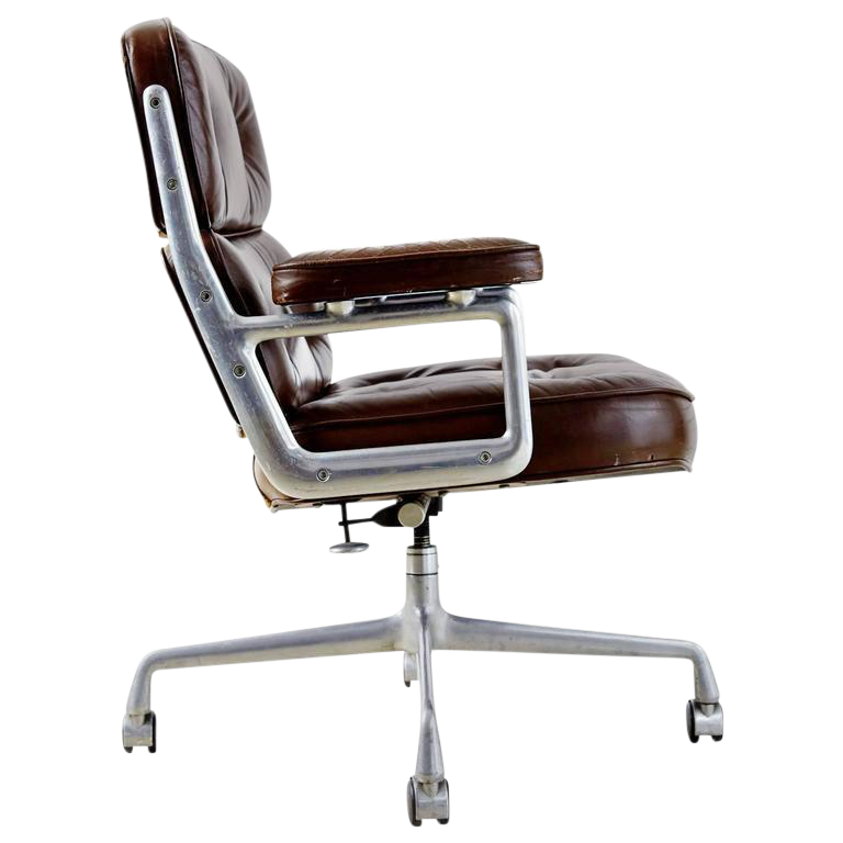 herman miller leather office chair. brown leather time life executive desk chair by charles eames for herman miller office