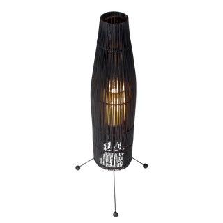 Tony Paul for Raymor Black Wicker Fish Trap Floor Lamp