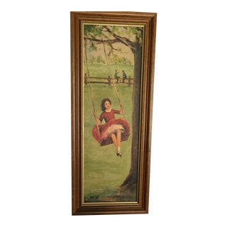Girl on Swing Painting Print