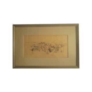 David Isenberg Original Vintage Pencil Sketch