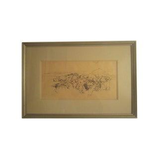 David Isenberg Original Vintage Pencil Sketch