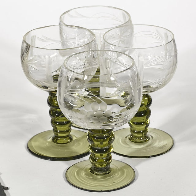 1960's Stem & Grape Etched Cordials - Set of 4 - Image 3 of 4