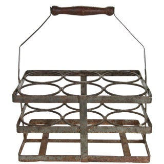 Vintage French Rustic Wine Bottle Carrier