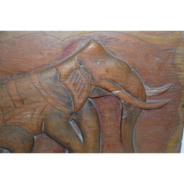 Antique Indian Elephant Relief Panel - Image 3 of 4