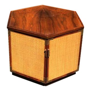 Lane Hexagonal 2-Door Side Table with Cane