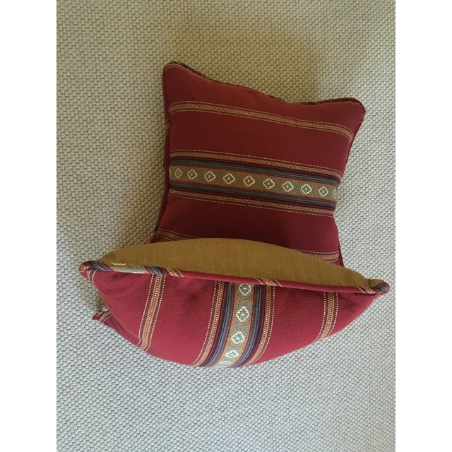 Red Southwestern Stripe Pillows - A Pair - Image 8 of 9