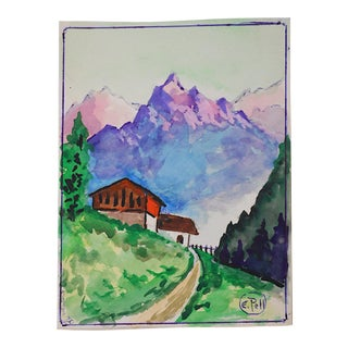 Mountain Watercolor by E. Pell