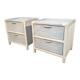 Palm Beach Pencil Reed Rattan Nightstands - A Pair