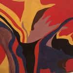 Image of Mid-Century Modern Red Abstract Painting