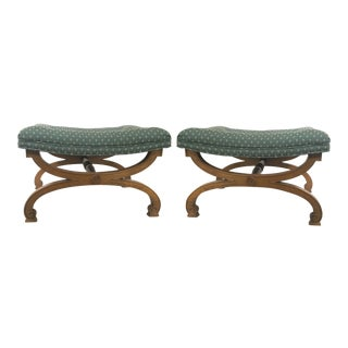 Dorothy Draper Hollywood Regency X-Benches or Stools- A Pair
