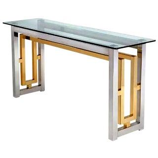 Chrome & Brass Console Table