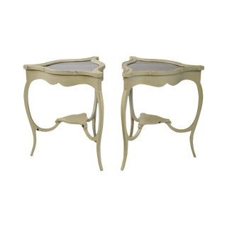French Louis XV Style Pair of Painted Vitrine Curio Top Side Tables