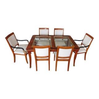 1990s Century Furniture Biedermeier Style Glass Top Walnut Dining Set