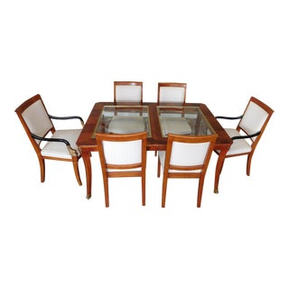 1990s Century Furniture Biedermeier Style Glass Top Walnut Dining Set