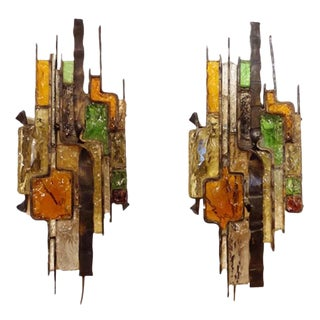 Pair Wall Sconces in Steel and Glass in the style of Poliarte Italy circa 1965