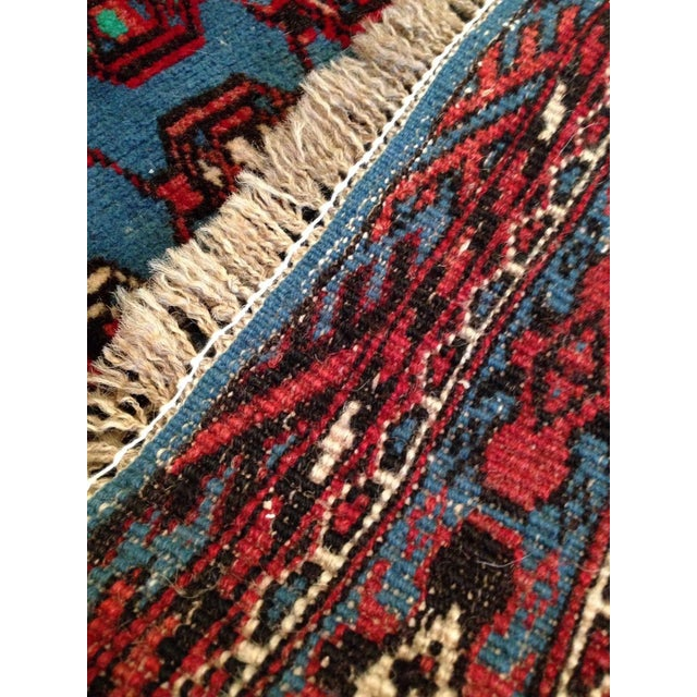 """Antique Blue/Red Persian Tribal Rug - 4'8"""" X 6'5"""" - Image 8 of 9"""