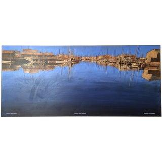 "'Newport Bay, California' Acrylic Painting - Huge 80"" L X 36"" H"
