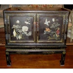 Image of Chinese Black Lacquer Hard Stone Cabinet