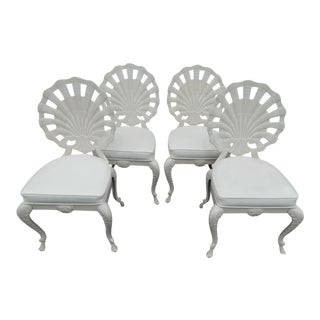 Vintage Cast Aluminum Shell Back Grotto Chairs - Set of 4