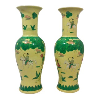 Yellow Asian Porcelain Vases - A Pair